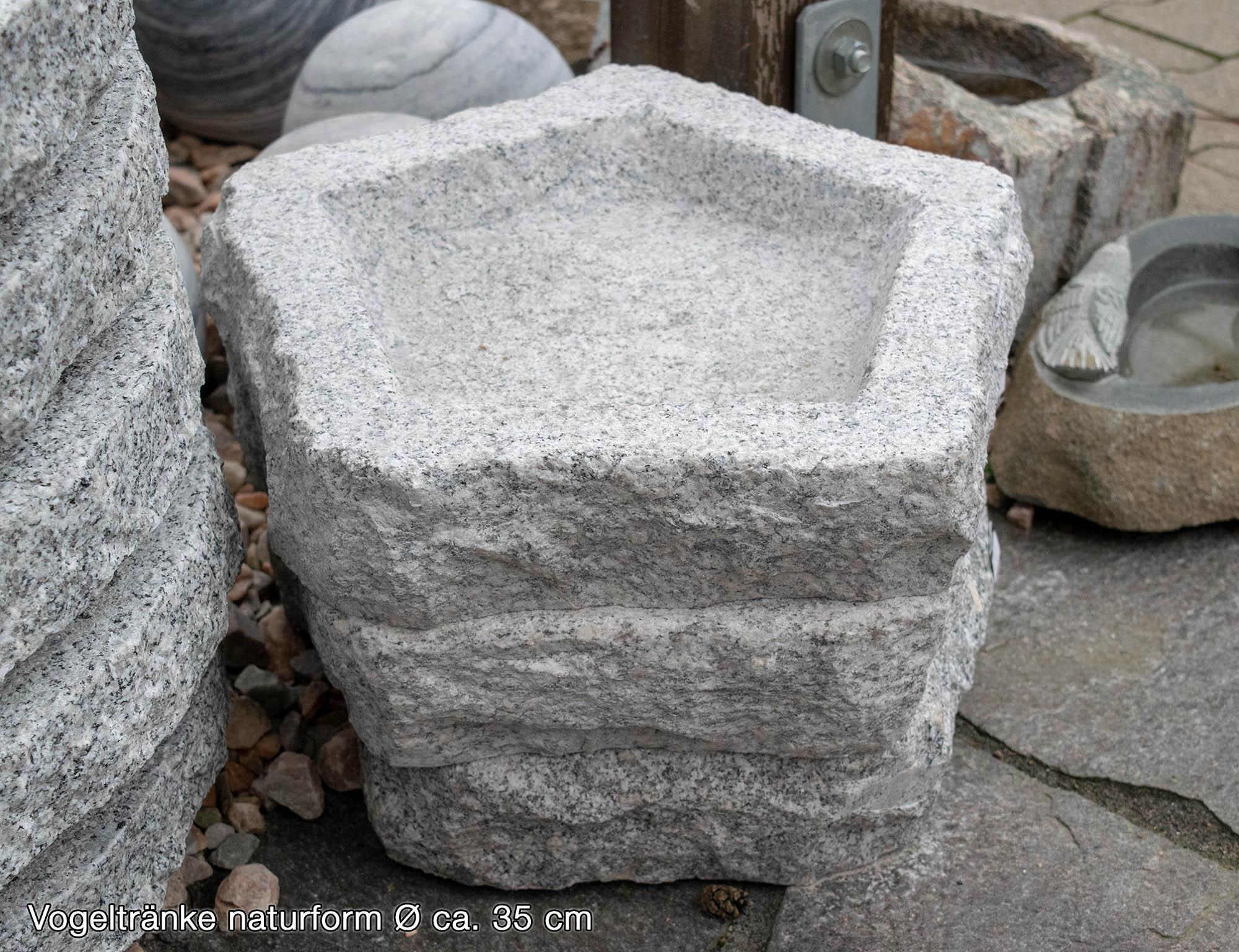 Vogeltränke Naturform<br>Granit grau<br>Ø ca. 30 bzw. 50 cm ...