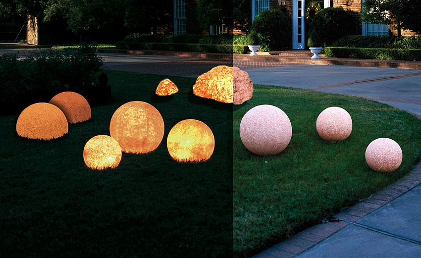 Dekorative leuchtkugeln naturstein dekoration for Terracotta gartendekoration