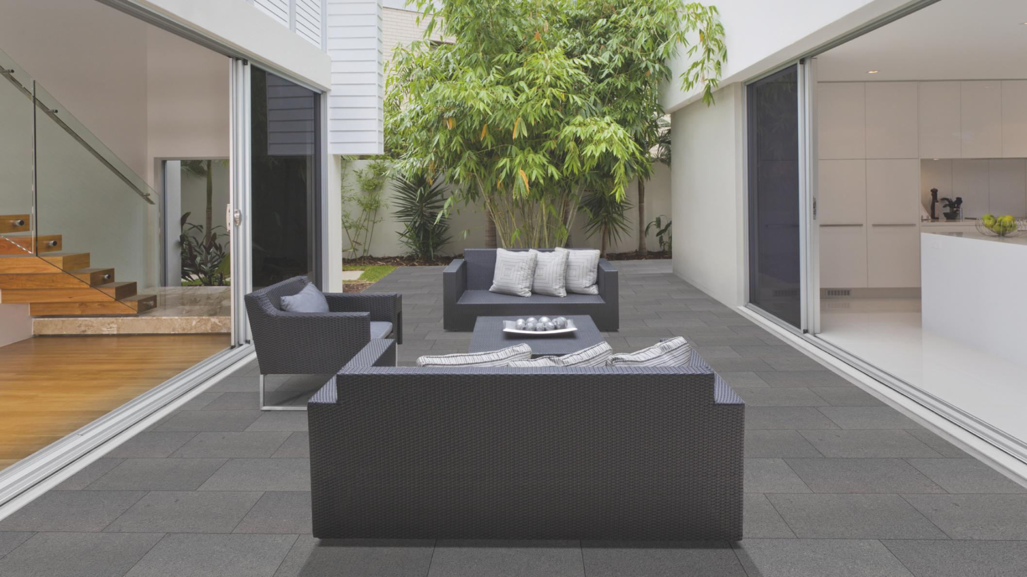 Terrassenplatten Granit Anthrazit Br Geflammt Naturstein Baumaterial