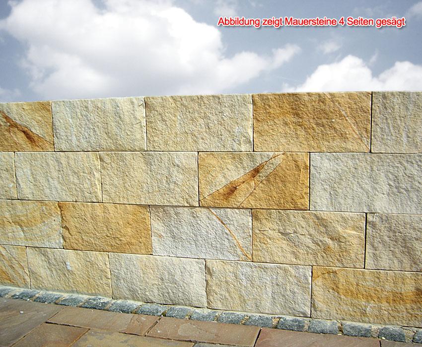 Trockenmauerstein Sandstein Gelb Ocker 20x20x40 Gesgt 2