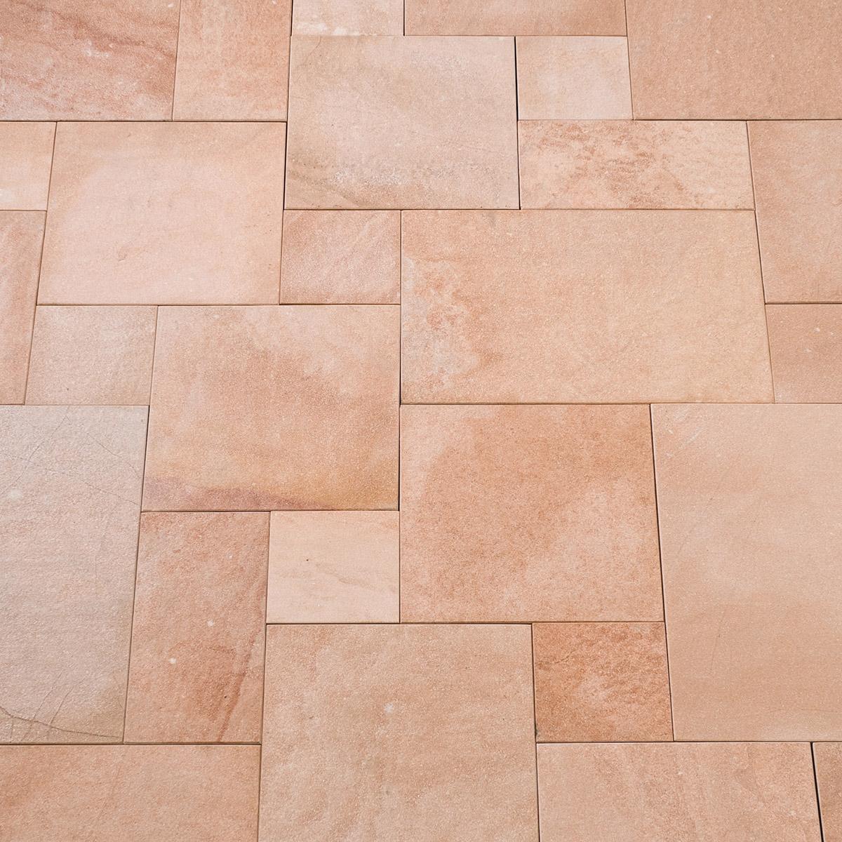 Terrassenplatten Sandstein ARAVALLIbrgeflammt Naturstein Baumaterial - Terrassenplatten 40x40 terracotta