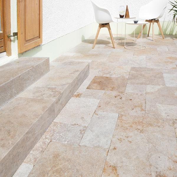 Terrassenplatten travertin castine maron getrommelt naturstein baumaterial - Naturstein terrassenplatten ...
