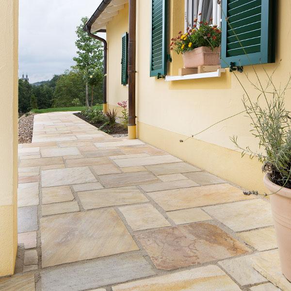 Terrassenplatten Quarzit Rio Dorado Gelb Br Spaltrau Naturstein