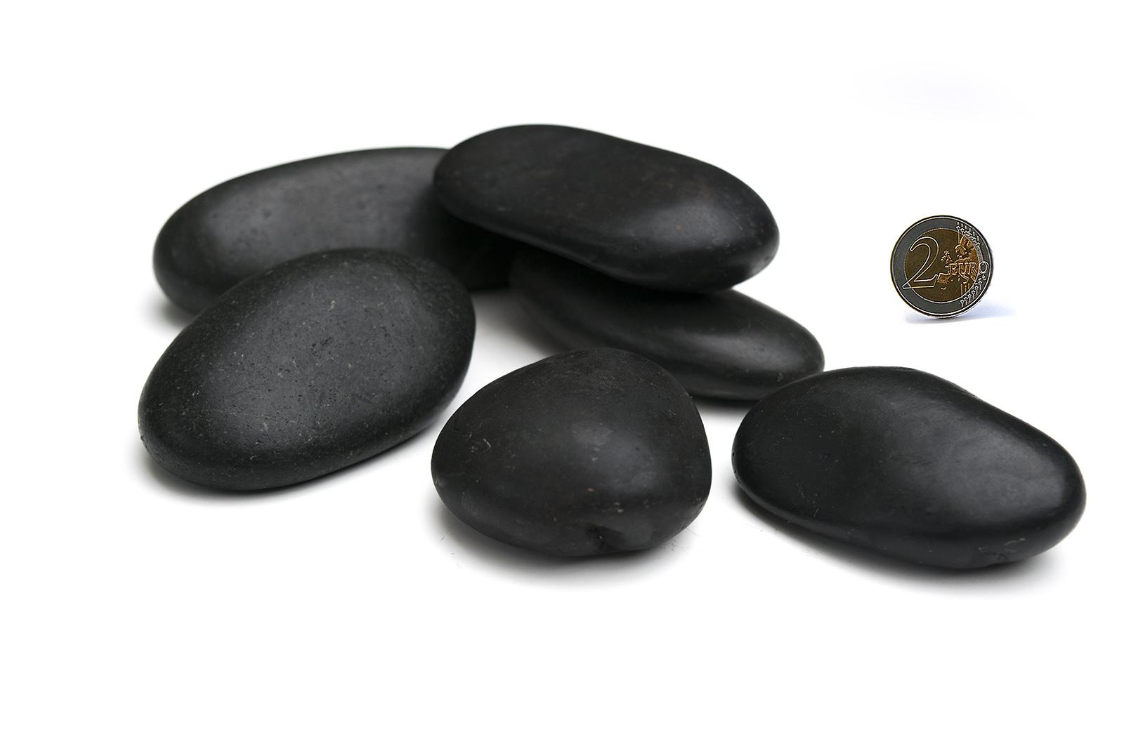 Zierkies poliert schwarz 50 80mm naturstein dekoration for Garten steine schwarz