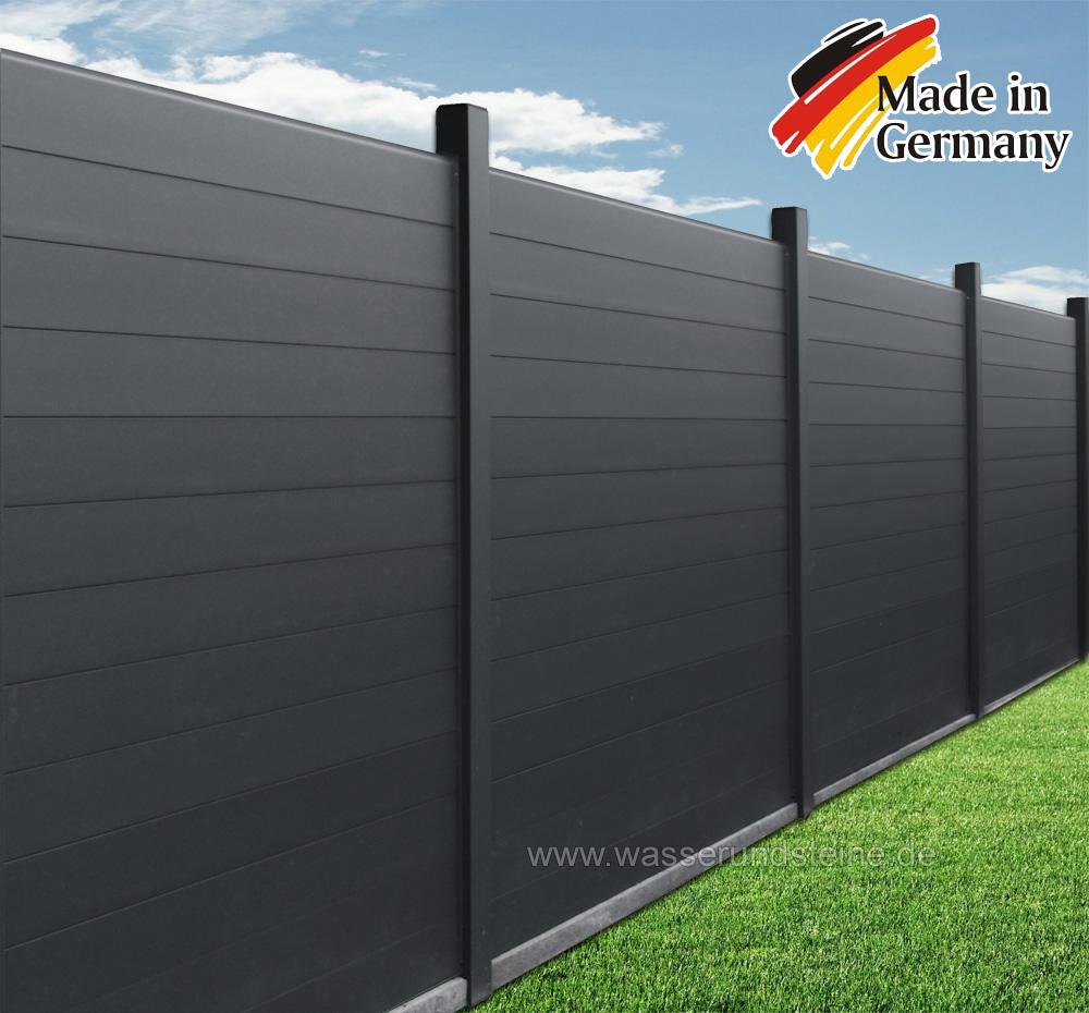 Aluminium Zaunelement Sichtschutz br 2 00 x 1 80 m Dach & Zaun