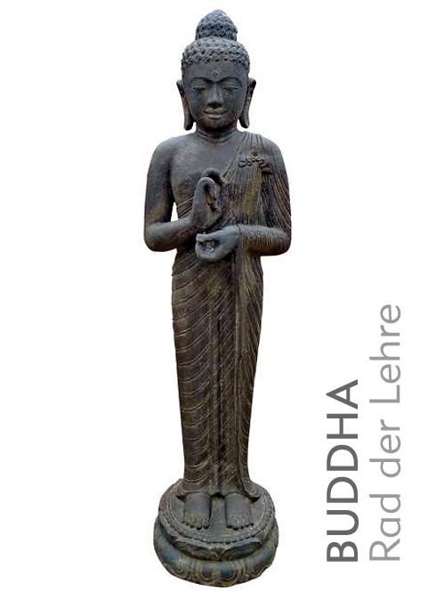 buddha figur stehend rad der lehre naturstein dekoration. Black Bedroom Furniture Sets. Home Design Ideas