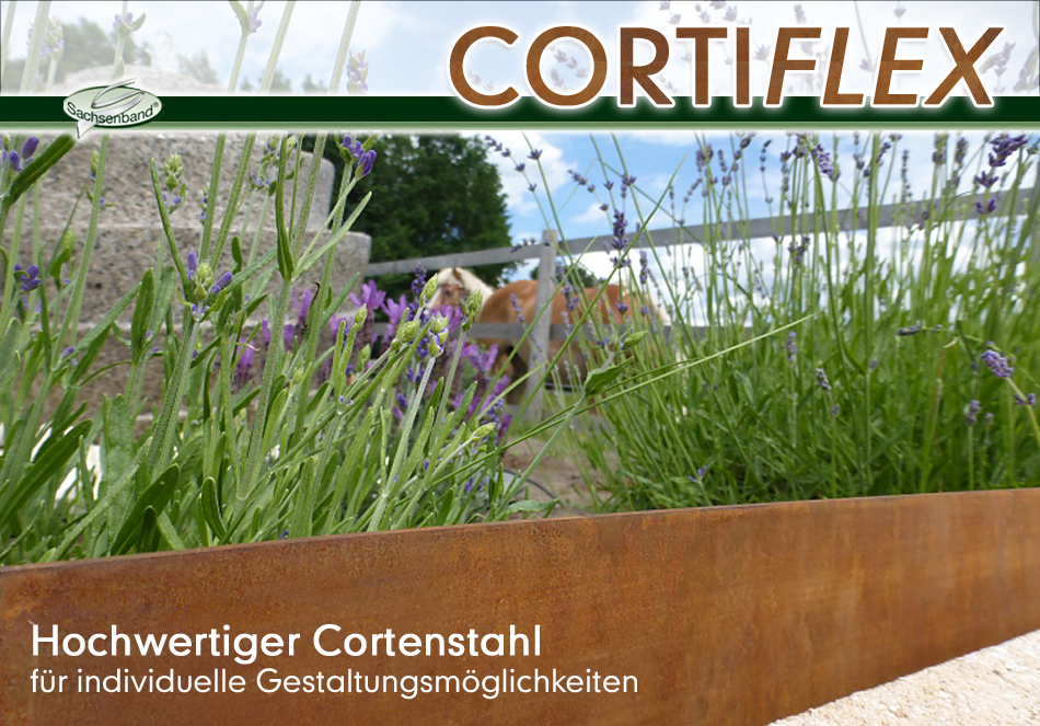 corten stahl einfassung rasenkante cortiflex naturstein. Black Bedroom Furniture Sets. Home Design Ideas