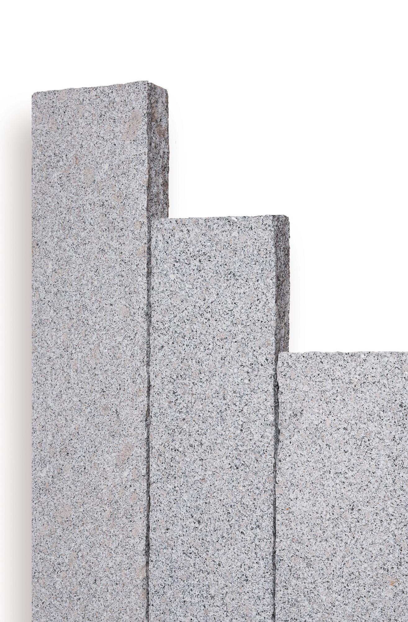Palisade Randstein Premium Granit hellgrau 10x25x150cm gestockte Oberkante