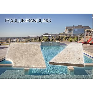 Poolumrandung Travertin Vanilla<br>Poolplatte & Poolecke